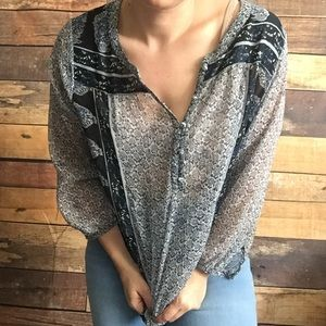 Lucky Brand boho hippie printed sheer blouse